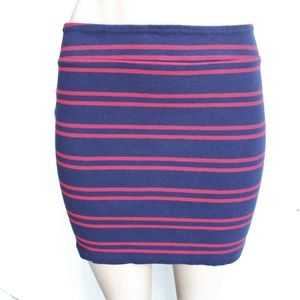 Navy Blue Red Striped Stretchy Mini Skirt